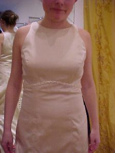 Front view of Kristin's wedding gown before alterations